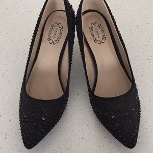 NYLA Maryann black jewelled sparkle pumps size 9